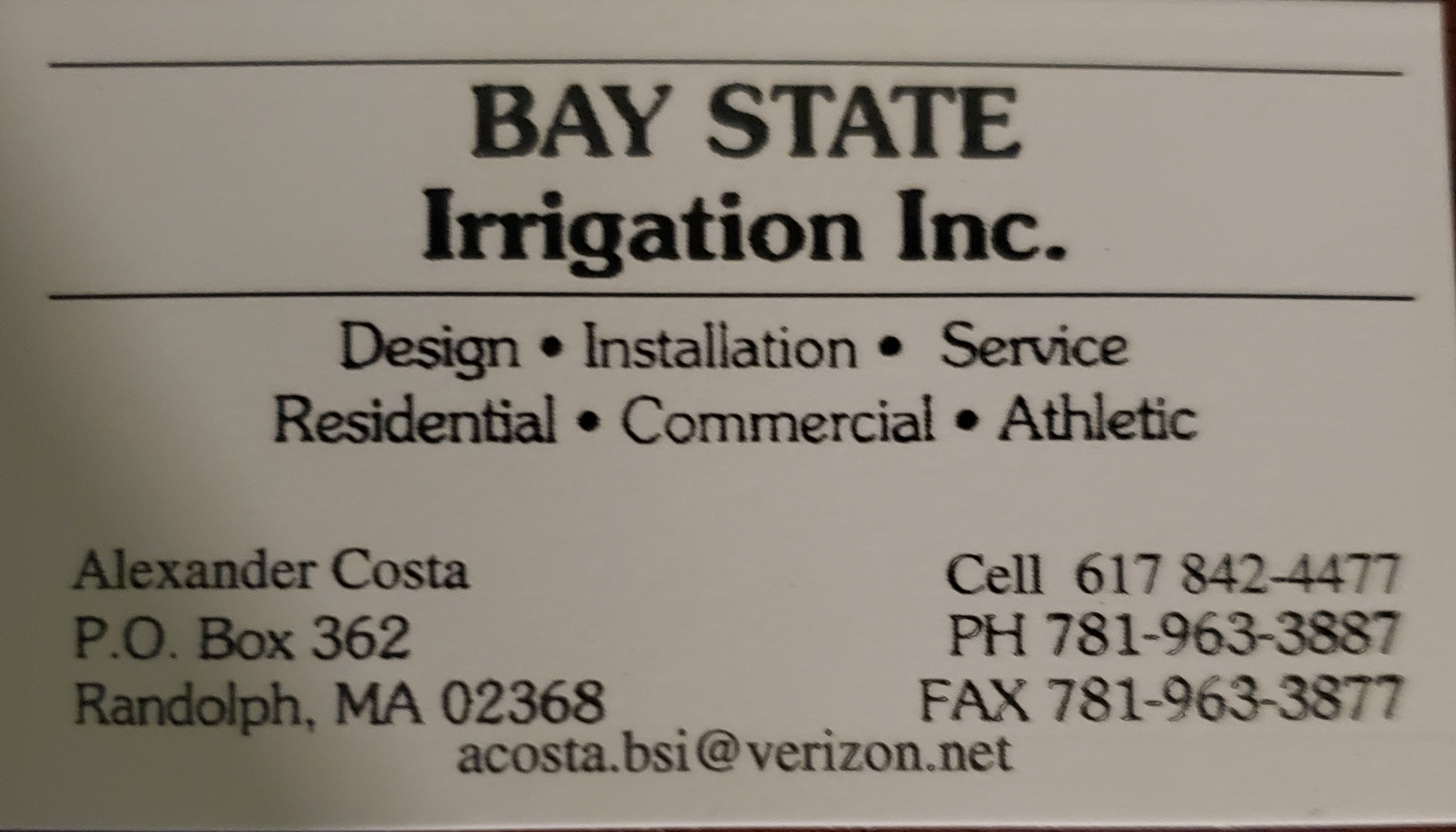 Bay State Irrigation Inc.